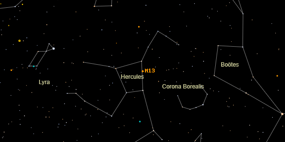Messier M13 on the sky map