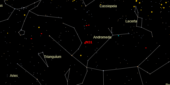 Messier M31 on the sky map