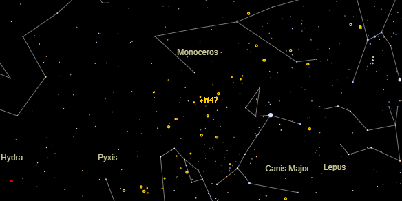 Messier M47 on the sky map