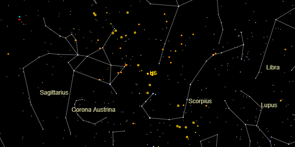 Messier M6 on the sky map