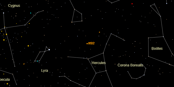 Messier M92 on the sky map