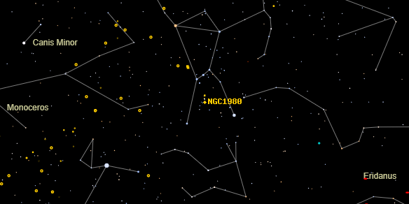 Lower Sword (NGC1980) on the sky map
