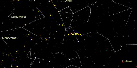 NGC1981 on the sky map