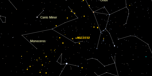 NGC2232 on the sky map