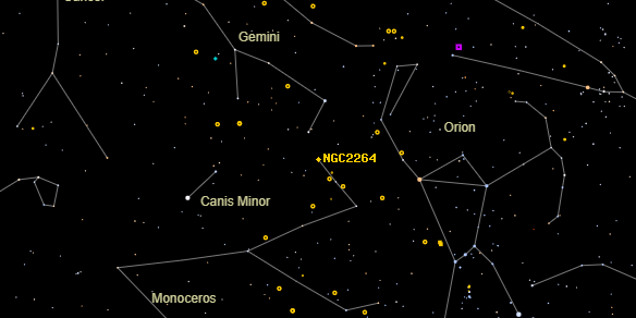 Christmas Tree Cluster (NGC2264) on the sky map