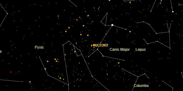 NGC2362 on the sky map