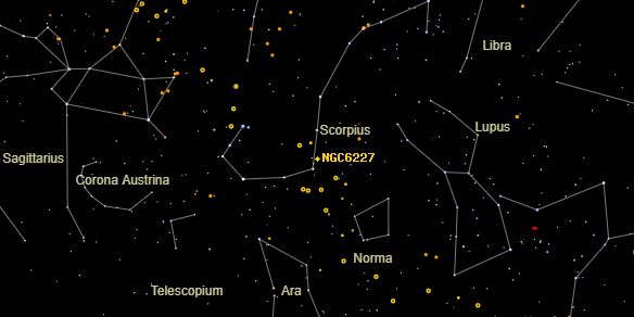 NGC6227 on the sky map