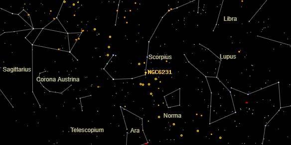 NGC6231 on the sky map