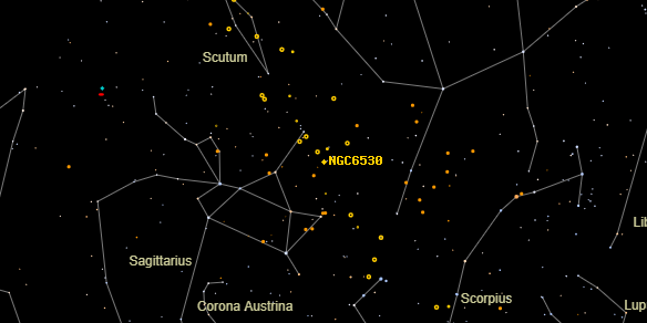 NGC6530 on the sky map