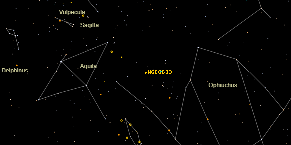 NGC6633 on the sky map