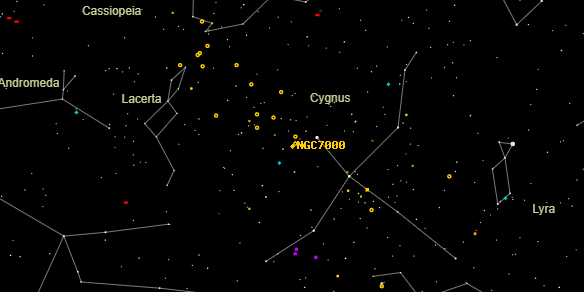 NGC7000 on the sky map