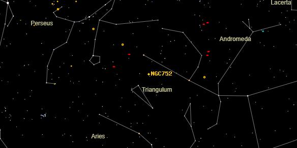 NGC752 on the sky map